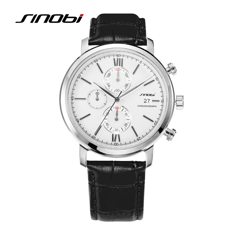 Sinobi Mens Black Watchband Wristwatches Famous Brand Gents Casual Quartz-watch Silver Watchcase Dress Watches Relogio Masculino<br><br>Aliexpress