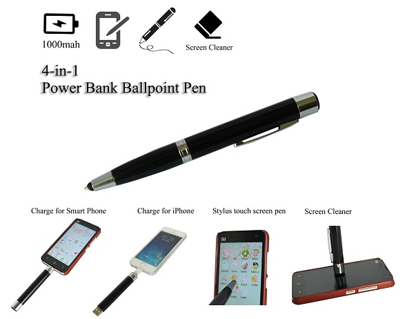 4-in-1 1000mAh Power Bank Pen-shaped Touch Screen Stylus with Screen Cleaner Multi-function Black(China (Mainland))