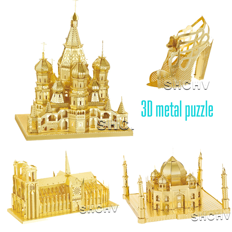 Hot Sale 3D Metal Puzzles DIY Working Building Model Gold Metal puzzle toys For Children as Children's day gift(China (Mainland))
