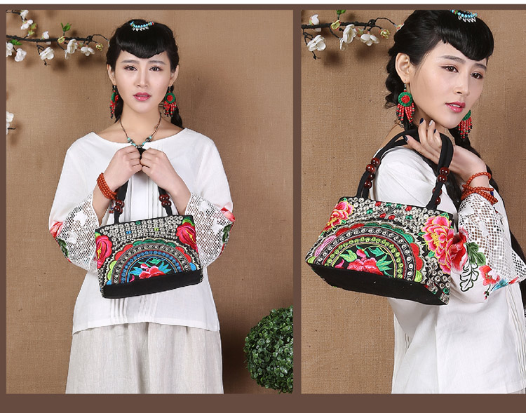 Yunnan National Chinese Embroidery handbag canvas double side embroidered shoulder bag ethnic shopping travel bag(China (Mainland))