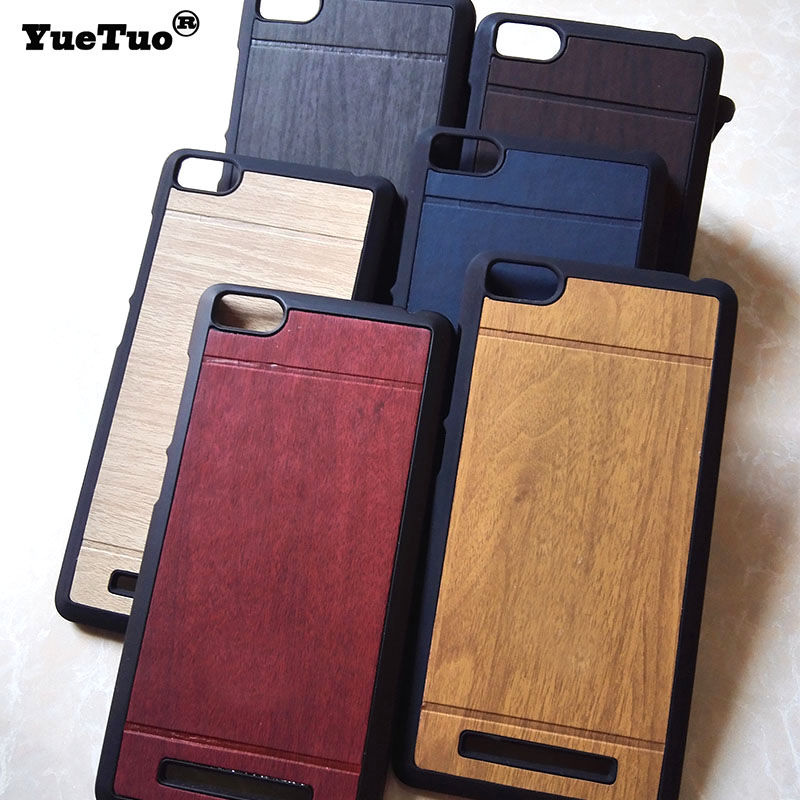 YueTuo original luxury hard case xiaomi redmi 3 mobile phone cover shell wood back gold wooden hongmi 3 cases covers
