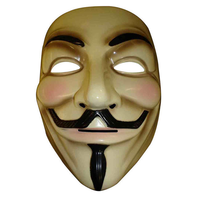 V for Vendetta Mask Guy Fawkes Anonymous Halloween Party Masks Fancy Dress Costume (White/Yellow)