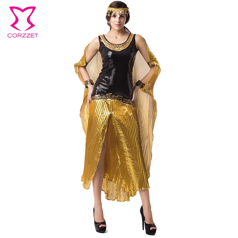 Black/Gold Sequin Gown Disfraces Carnaval Adultos Cosplay Egyptian Cleopatra Costume Gothic Sexy Halloween Costumes For Women(China (Mainland))