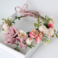 2016 New Women Wedding Rose Flower Wreath Crown Headband girls Party Floral Garlands Hair Ribbon Flower