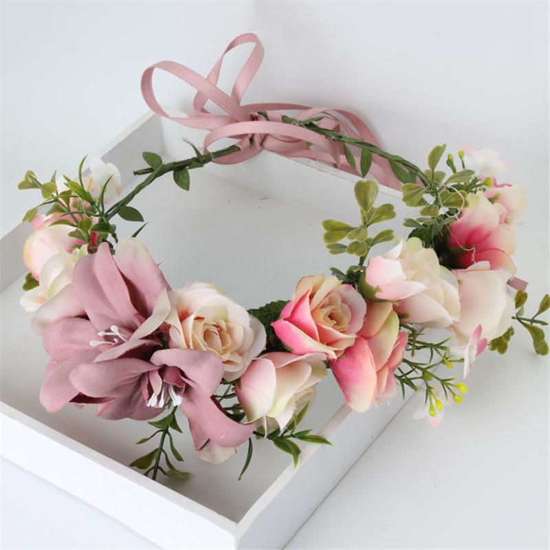 2016 New Women Wedding Rose Flower Wreath Crown Headband Kids Party Floral Garlands Hair Ribbon Flower Crown Hair Accessories(China (Mainland))