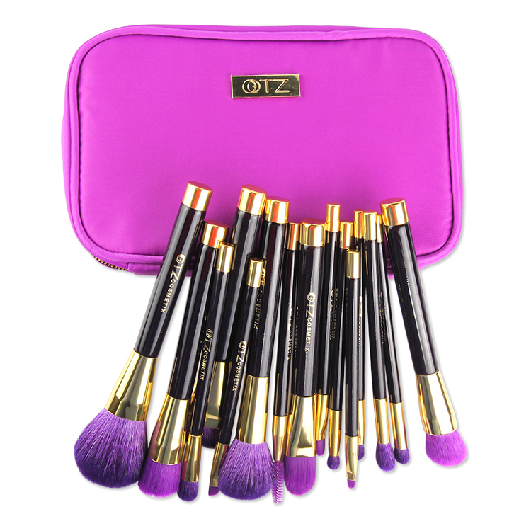 Pouch synthetic Natural With Hair.jpg best Synthetic makeup or Makeup natural brushes Travel  Brush Set