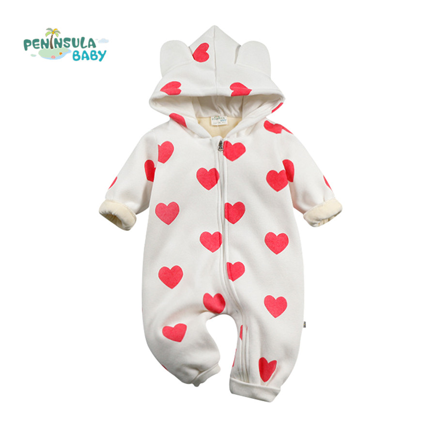Baby Romper Loving Heart Toddler Girl Clothing Cartoon Cute Jumpsuit Baby Romper Winter Costume For Kid Hooded Clothes(China (Mainland))