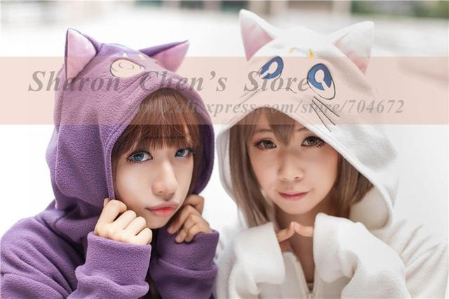 Anime Sailor Moon Hoodie Cosplay Daily Outwear Cartoon Повседневный Luna Cat Ears ...