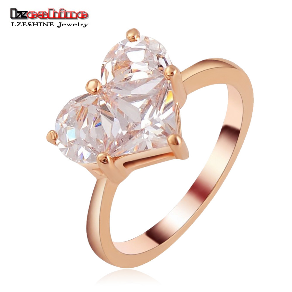 LZESHINE Bijoux Wedding Ring Rose Gold Plate with Heart Shape Cubic Zirconia Romantic Rings/Aneis for Women Ri-HQ1112-A(China (Mainland))