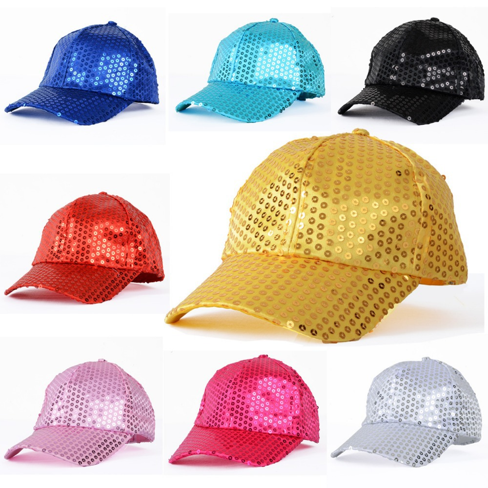 Children Party/Stage Performance Dancing Sequined Hats Kids Baseball Cap Girls/Boys Child Fashion Cap Velcro Closure Adjustable(China (Mainland))
