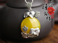 Thai silver S925 sterling silver pendant lotus lotus leaf yellow chalcedony pendant new free shipping retro national wind(China (Mainland))