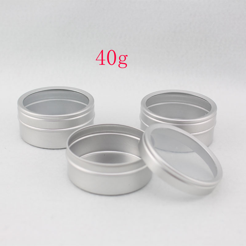 New  Free Shipping 50pcs/lot 40g Packaging Tin Metal Cans Cosmetics Jar Cream Container Round Aluminum Butter Case<br><br>Aliexpress