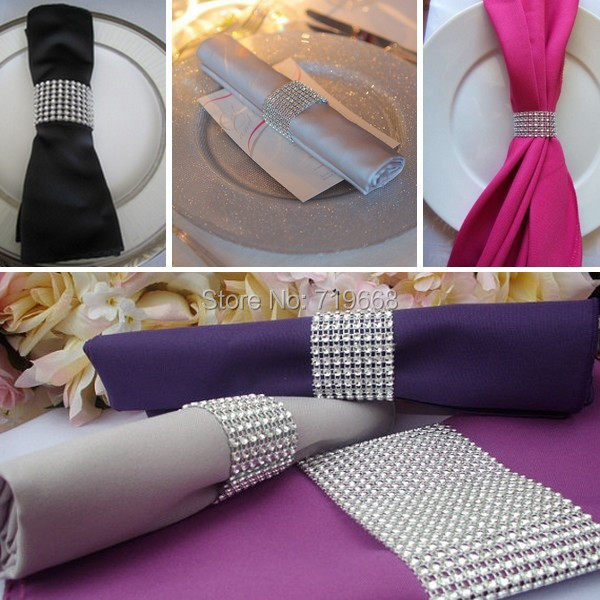 """Hot Sale 50Pcs Silver 1.5"""" 8Rows Bow Covers With Velcro Closure Napkin Ring Diamond Rhinestone Wedding Chair Sashes Bows Holder(China (Mainland))"""
