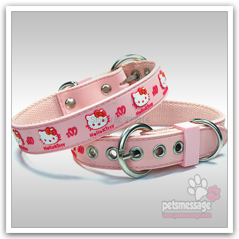 Small Dog Collar Kitty Cat Pattern PVC Leather Pink Blue Color Sizes #PGL850010 MOQ 1  -  ok Store store