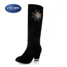Free shipping Mesh diamond decoration of new fund of 2014 autumn winters is female boots Thick with high heel boots(China (Mainland))
