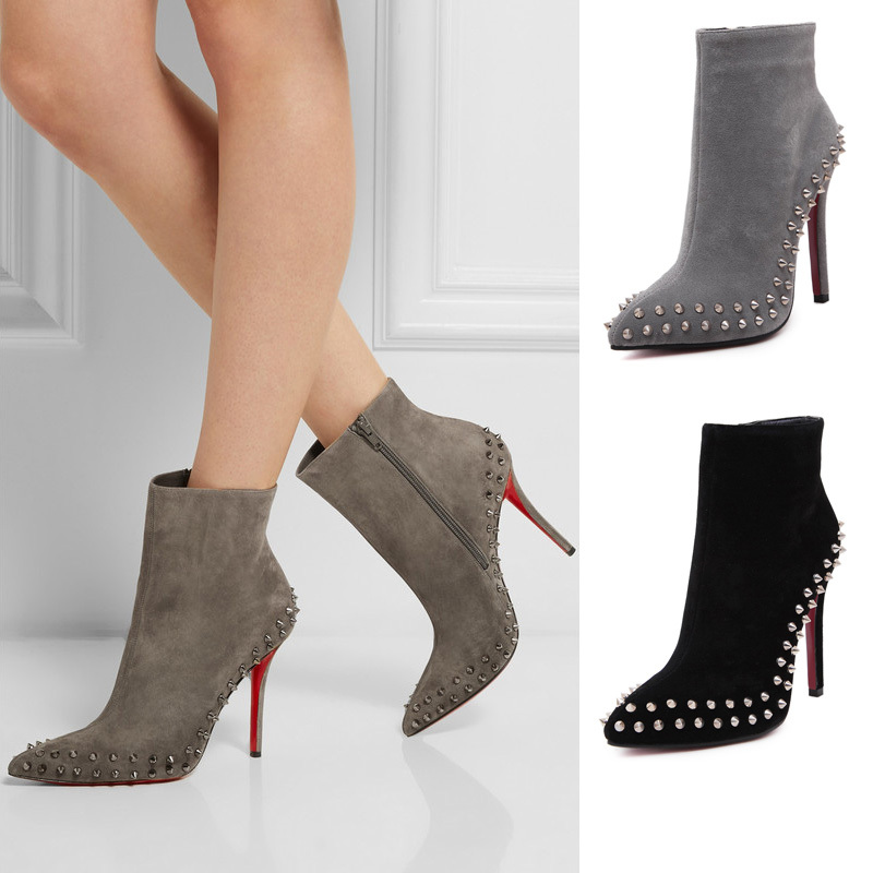 Fashion Punk Style Women Rivet Motorcycle Red Bottom High Heel Boots Shoes Sole - Rosa CO.,Ltd store