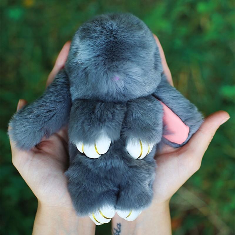 2016 New Rex Furs Rabbit Plush Toys Key Ring Keychain Pendant Bag Car Charm Tag Cute Mini Rabbit Toy Doll Real Fur Monster(China (Mainland))