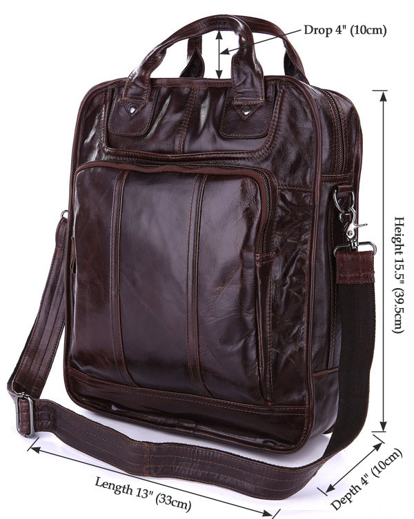 New Arrival 3 Use Bag Vintage Leather Style Coffee Men Briefcase Messenger Bag Backpack Bag # 7168C<br>
