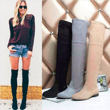 2015 New Coming Hot sale suede Leather Shoes Over The Knee Boots Gray/Black/kahki Autumn Boots(China (Mainland))