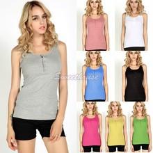 Super Quality Summer Tops Women Ladies Fashion Long Cotton Tank Top Vest Basic T-shirts Sleeveless Cheap Camisole 12(China (Mainland))