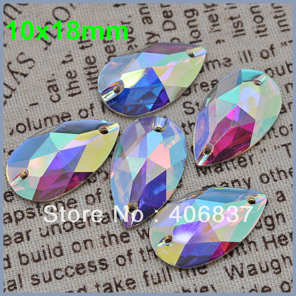 Free Shipping, 100pcs/Lot, 10*18mm Crystal AB / Clear AB sew on resin stones flat back sew on teardrop beads(China (Mainland))