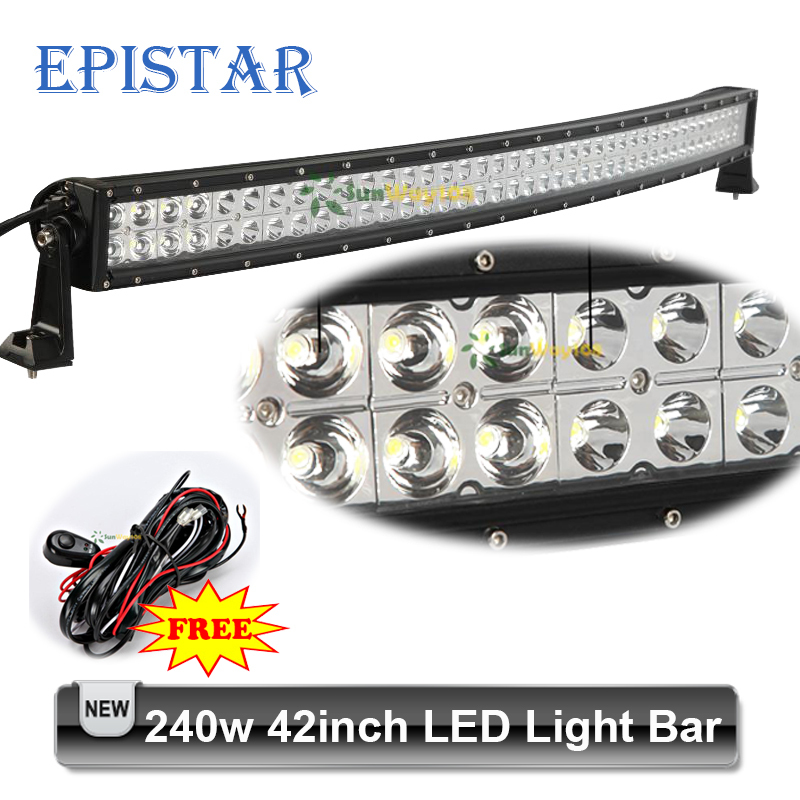 42 inch 240W Curved LED Light Bar Epistar 80*3w 12V 24V Car Farm 4x4 Truck Spot Flood Light Combo + Wire Loom Harness Relay Kit(China (Mainland))