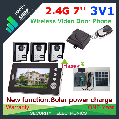 """Free ship 3V1 Solar power charger Wireless 7""""  video door phone intercom system+ remote control EMS&DHL/FedEx free shipping"""
