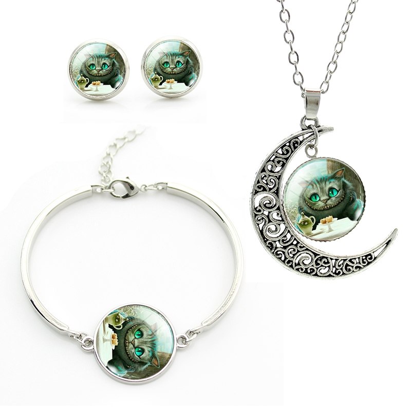 Top quality plated Silver Jewelry Set Glass Cheshire Cat Picture Pendant Necklace Earrings Set For girls Accessories JS042(China (Mainland))
