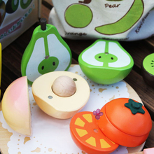 Free shipping, magnetic simulation fruit well, send to receive bag, house wooden Pretend Play(China (Mainland))