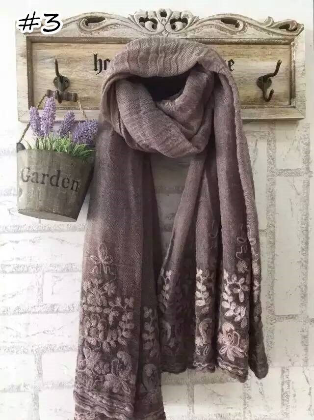 2016 Luxury Embroidery Scarf Plain Embroider Flower Shawl Fashion Floral Scarves Cotton Linen Scarf Nice Muslim Hijabs Hot Sale(China (Mainland))