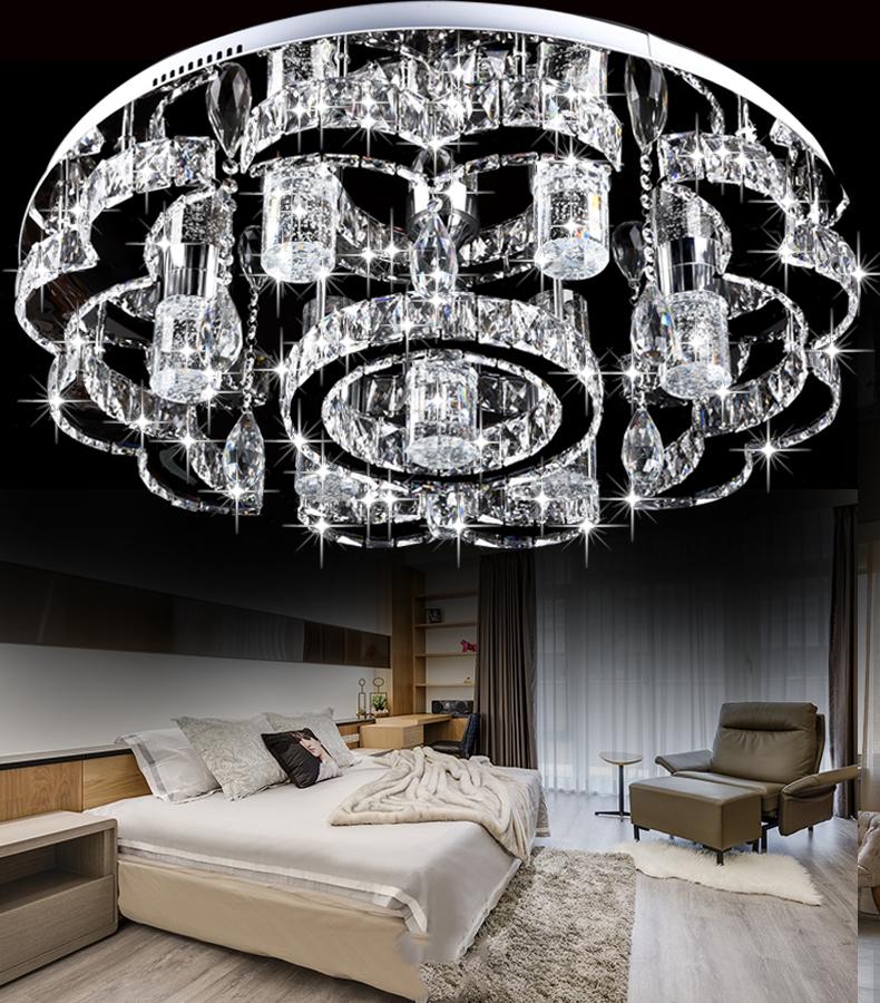 Modern led round plafon crystal chandelier lamparas de techo colgante luminaria de teto lustre para sala mount ceiling lights<br><br>Aliexpress