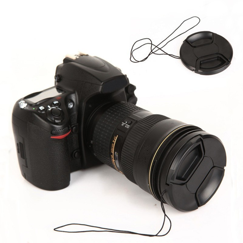 67mm Black Plastic Center Pinch Snap-on Cap Cover + LOGO +Anti-lost Rope for Nikon 67 mm Lens