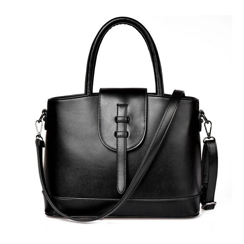 Women's Shoulder Bag Black And White Leather Handbag Simple High Capacity Bucket Noble Tote Women Fashion Messenger Bag(China (Mainland))