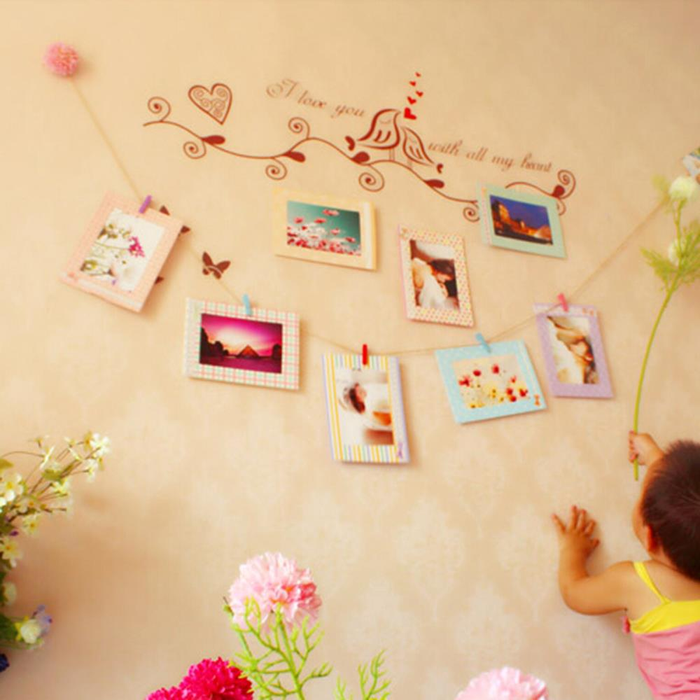 """Decoration Home Art Wall 8pcs 6"""" Hanging Photo Picture Frames + Wood Clips& Rope(China (Mainland))"""