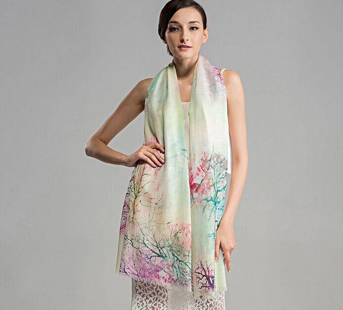 100% wool women scarf for autumn&winter warm new fashion style lady's shawl long scarves Digital printing Pashmina(China (Mainland))