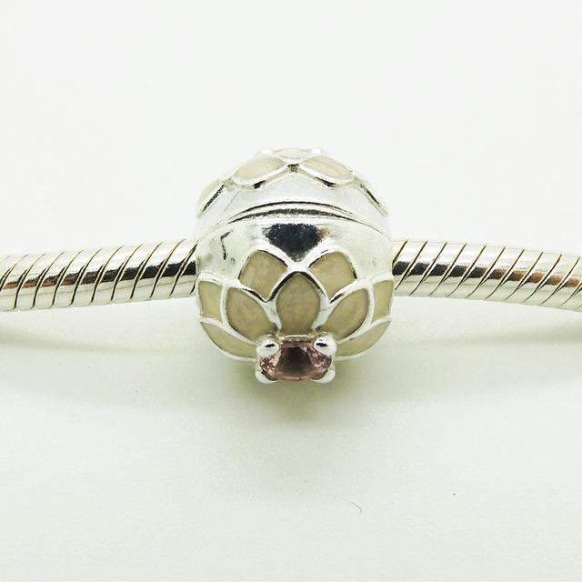 Серебряный бусины цветущие далия клип с крем эмаль и румяна розовый 2016 мода ювелирных подходит европейский стиль браслет подвески