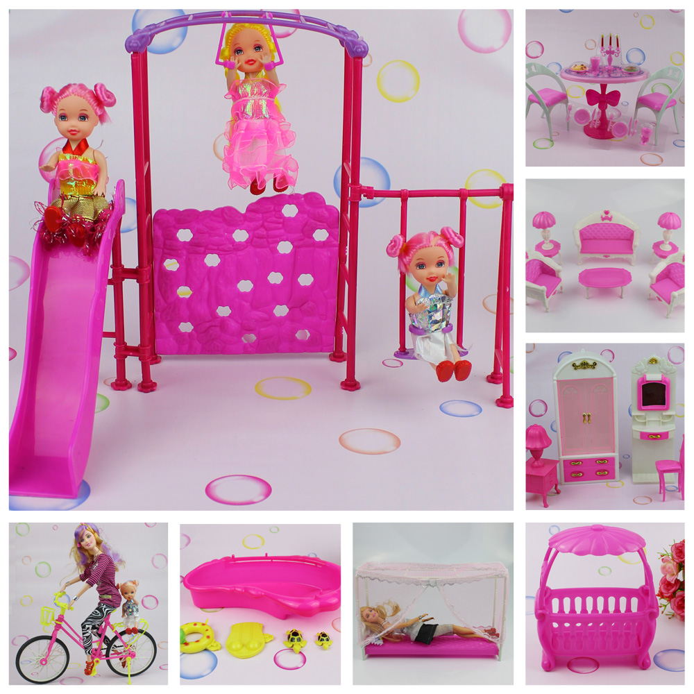 Various Style Beautiful Doll Accessories Plastic Dollhouse Doll House Furniture Girl Toy Gift Set(China (Mainland))