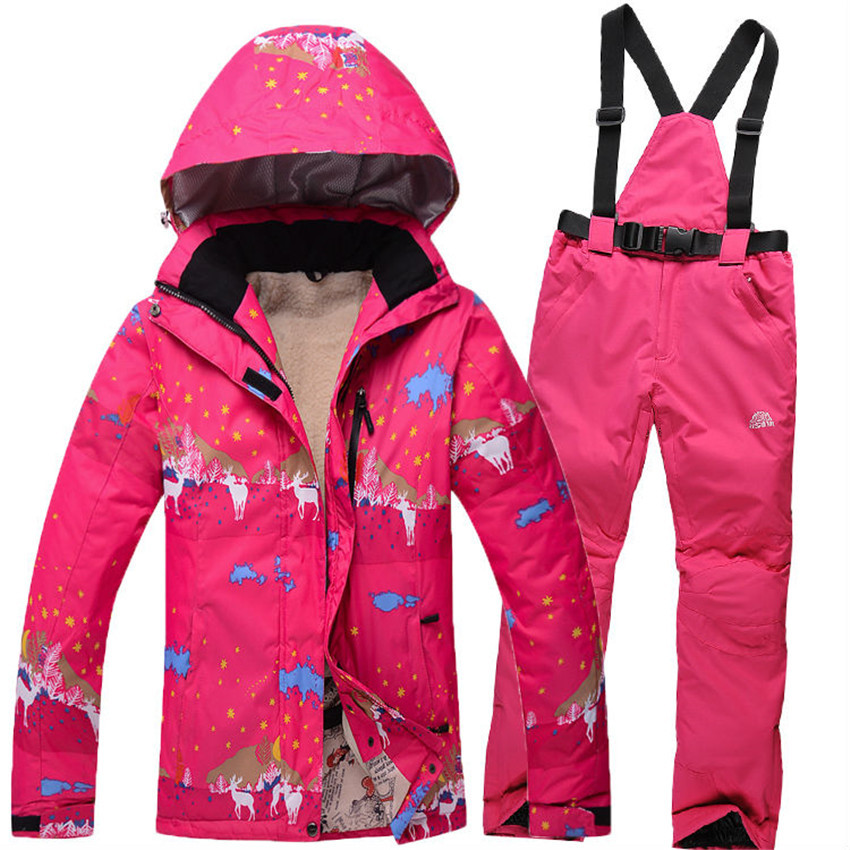 2016 newest ski suits women's jacket+pants snowboard clothes snowboarding skiing jackets sports waterproof windproof breathable(China (Mainland))