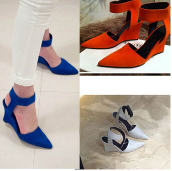 2015 Women Wedges Fashion Brand Ankle Pointed Toe Pumps Sexy Sandal High Heels Black Blue Orange White Women Shoes Summer