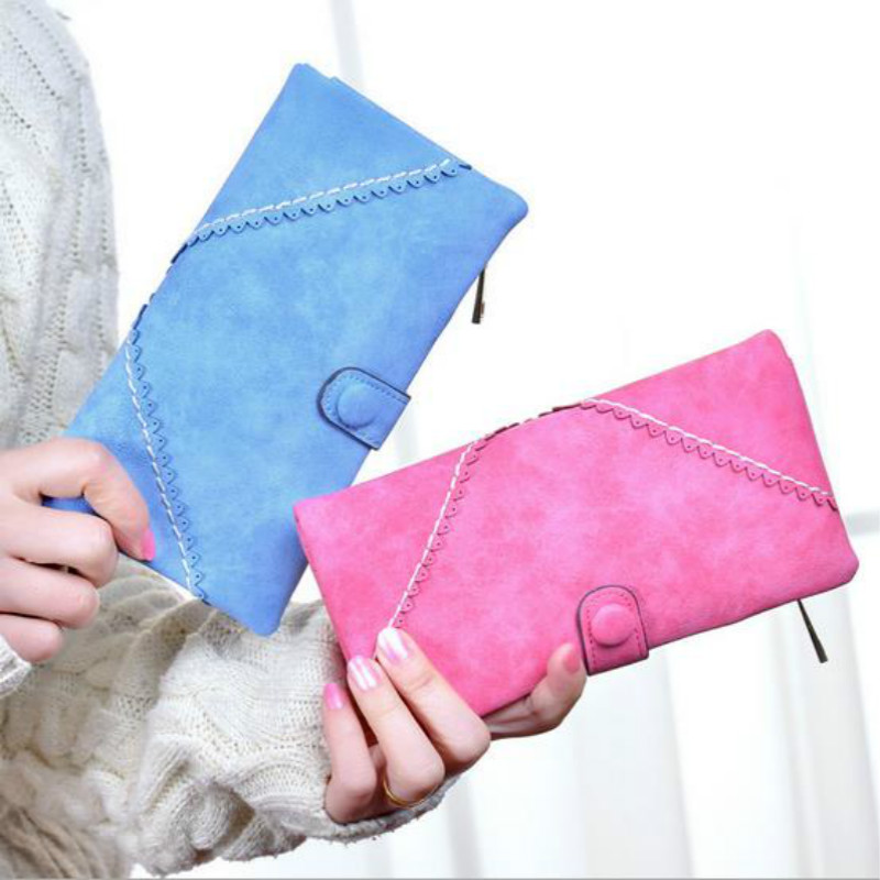 winter fashion trends pumping frosted multi-card position two fold wallet lady Long purse(China (Mainland))