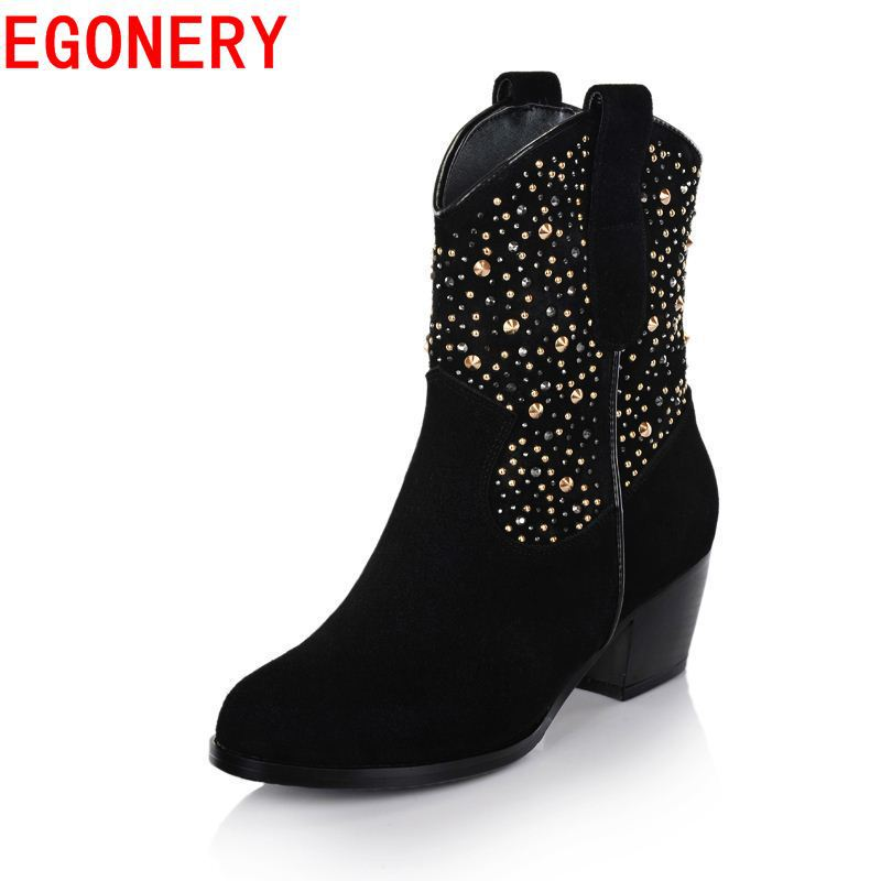 new hot high quality autumn winter style genuine leather shoes round toe ankle boots fashion high heels warm boots women shoes<br><br>Aliexpress