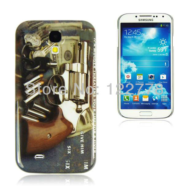 Fashion Cool Pistol Gun Case Cover Plastic for Samsung Galaxy S4 S IV i9500 Case, 50pcs/lot.(China (Mainland))