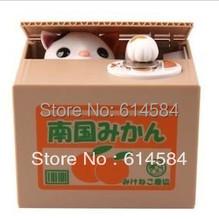 Fashion Automated cat steal coin piggy bank,kitty saving money box,coin bank,money bank,novelty toys,24pcs/lot,wholesale,F-CB03(China (Mainland))