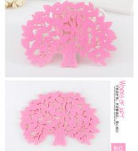 300pcs/lot Colorful Big Tree Shape Felt Cup Mats DH16(China (Mainland))