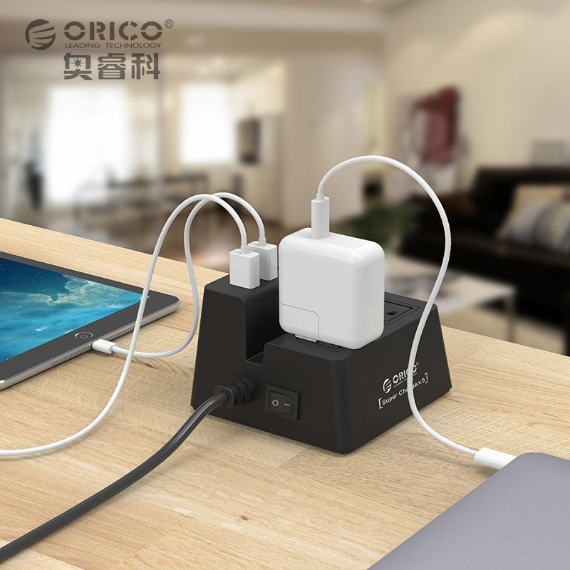 ORICO 40W 5 USB Charging Ports Power Strip and 2 AC Outlets Surge Protector with Stand(China (Mainland))