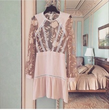 Women Love Summer Long Sleeve Emelia Mini Dress Floral Embroidery Nude Lace Dress Sexy Hollow Out Embroidered Mini Dress(China (Mainland))