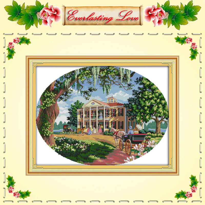 South estate Manor scenery Chinese Cross stitch painting DMC 14CT 11CT counted printed on fabric kits needlework embroidery Sets(China (Mainland))