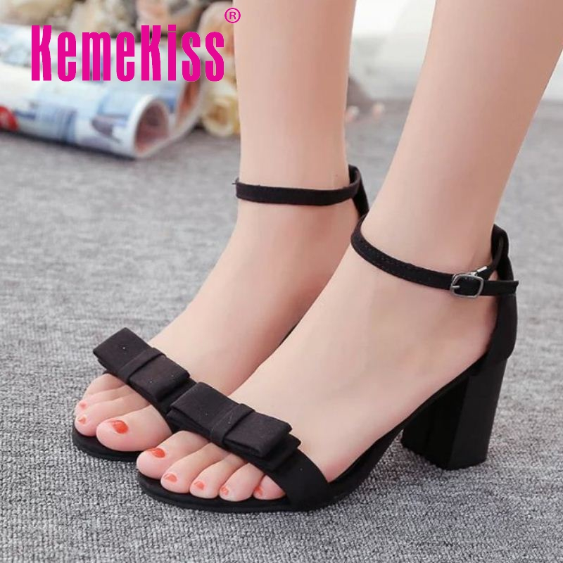 women sandals summer style womens thick high heel sandals ankle strap ladies bowtie shoes women leisure shoes size 35-39 WC0113<br><br>Aliexpress
