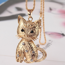 2014 Free Shipping New14k Gold Filled Vogue Women Party Gift  White Austrian Crystal Cat Pendant  Sweater Chain Necklace Jewelry