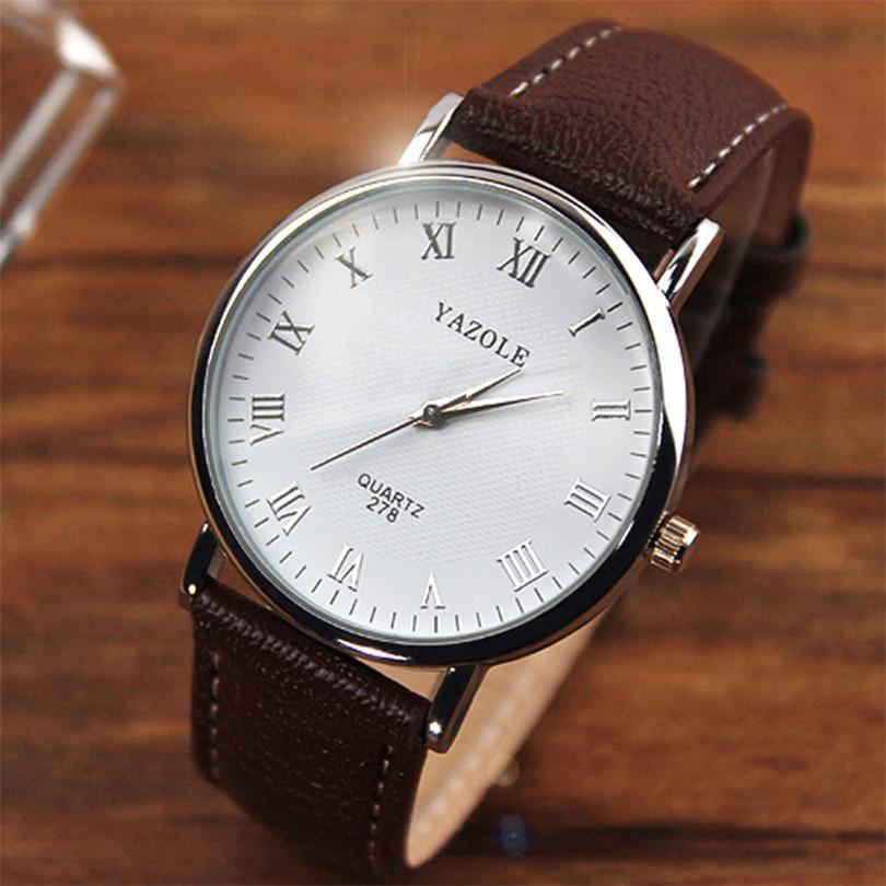 Durable Splendid Luxury Men Watches 2015 Faux Leather Men Analog Casual Quartz Watch Men Brown Wholesale
